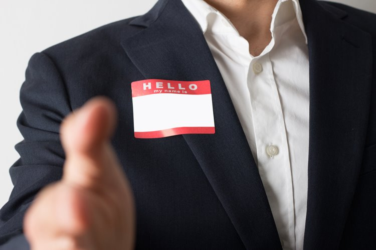 name tag on business man