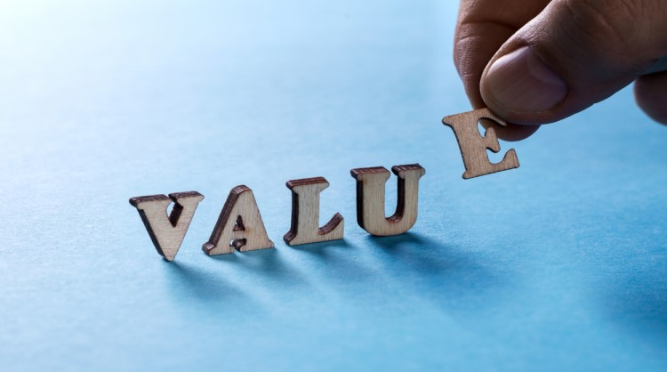 spelling out the word 'value'