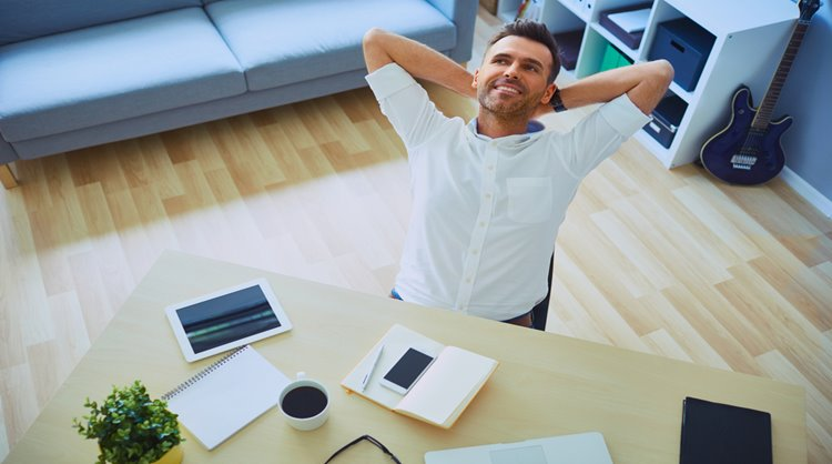 relaxed man in home office