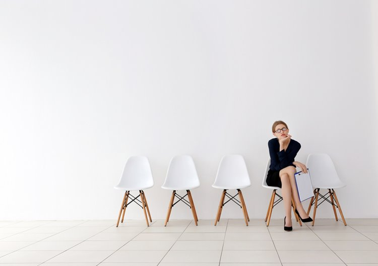 woman candidate waiting for job interview