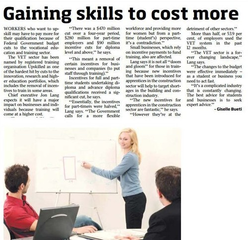 'gaining skills to cost more' article clipping