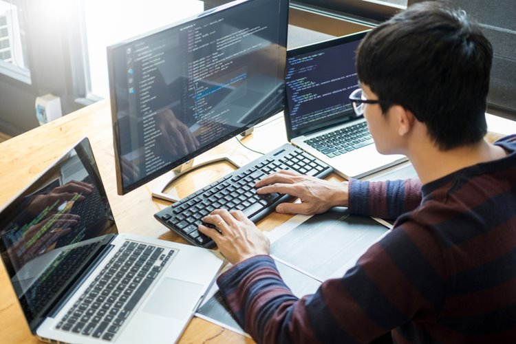 male programmer working