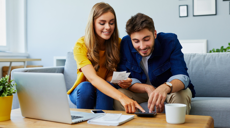 young couple managing finances
