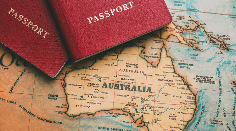 Australia on world map with two red passports