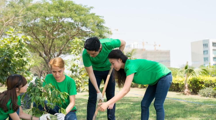 group of asian students planting a tree