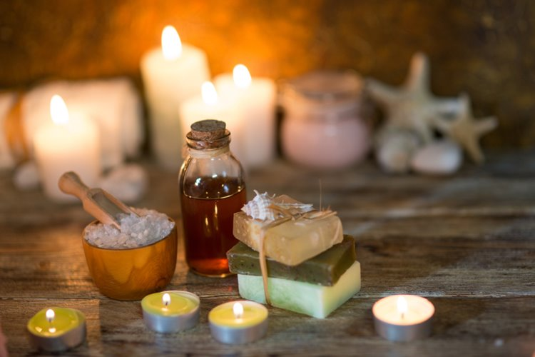 natural oils and candles