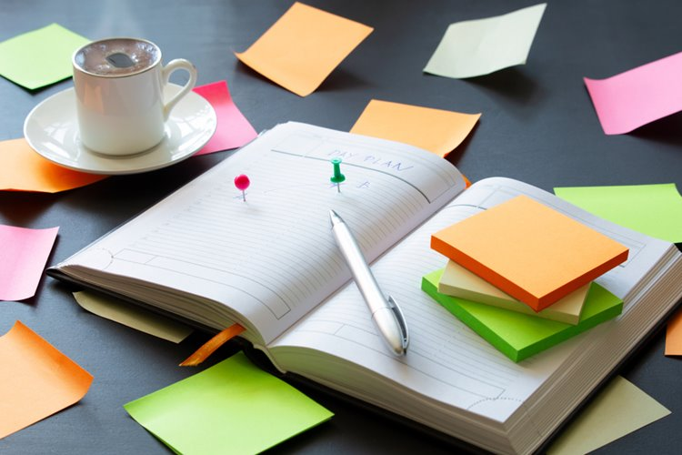 diary planner with post its