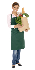 female retail employee holding groceries