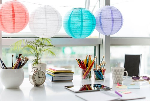 office desk with chinese lanterns