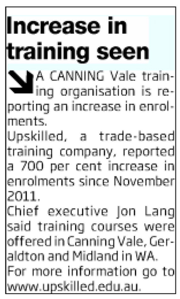 'increase in training seen' article clipping