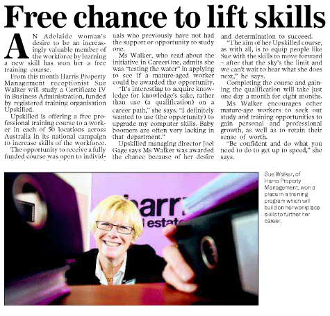 'free chance to lift skills' article clipping