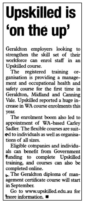 Geraldton Guardian - Upskilled is 'on the up' article clipping