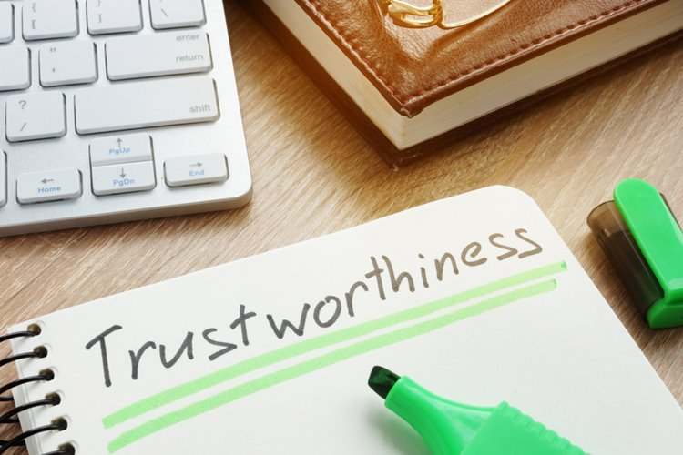 trustworthiness written in notebook