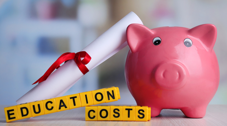 piggy bank with 'education costs' sign